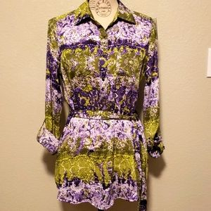 Liz Claiborn  Lime Multi Purple Tunic